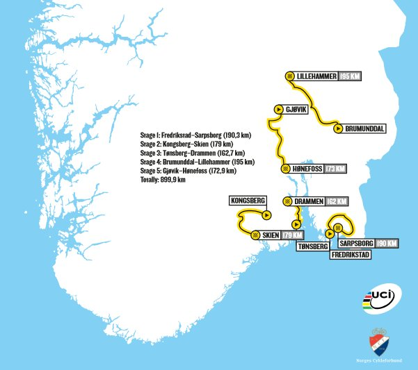 Photo: 2013 Tour of Norway Race Map.