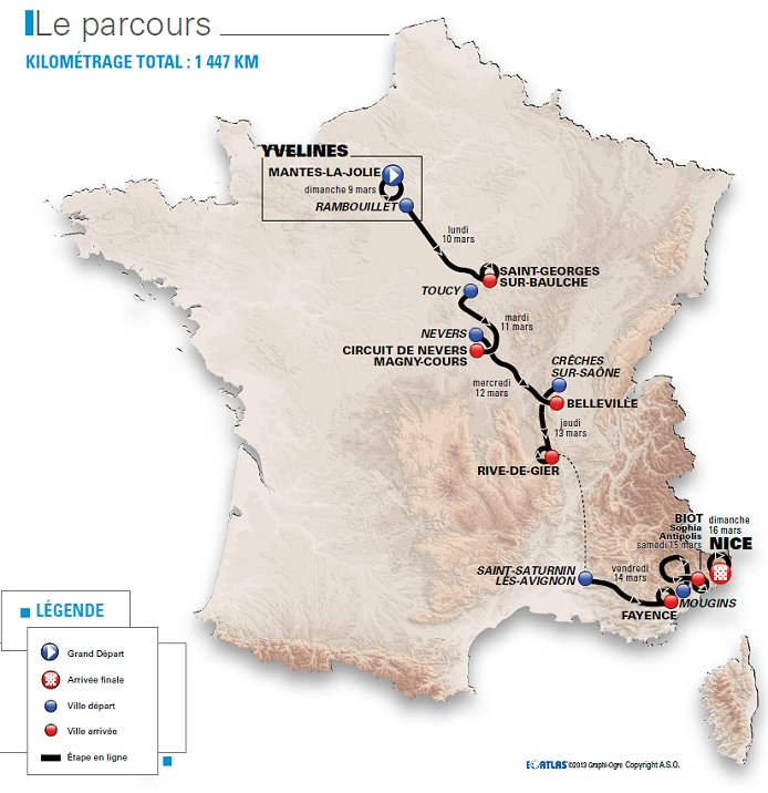 Photo: 2014 Paris-Nice Route Map.