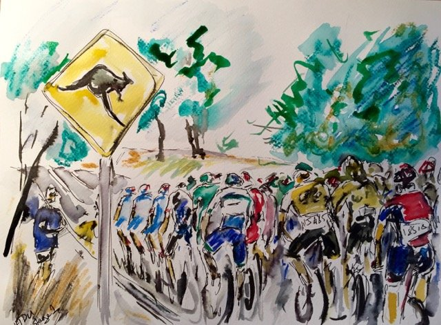 Thumbnail Credit (cyclingfans.com) Garth Bayley Art: Tour Down Under Art by Garth Bayley: The peloton on Stage 1 Copyright © 2016 Garth Bayley Art Garth's cycling art is available for purchase at Garth Bayley Art.