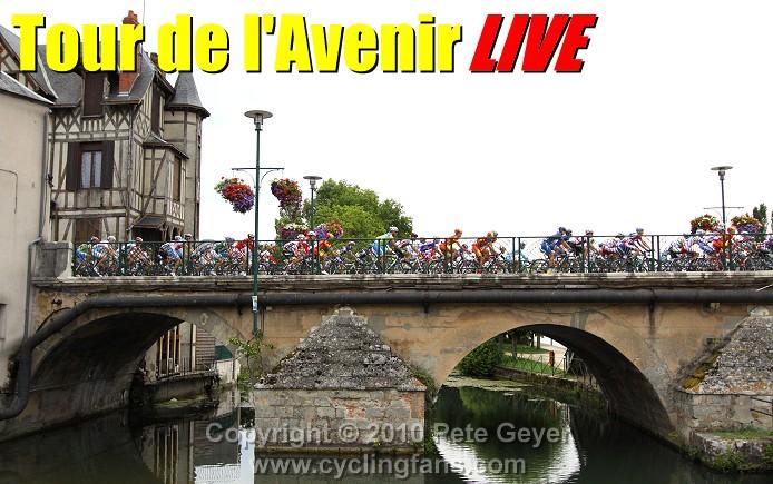 Thumbnail Credit (cyclingfans.com) Pete Geyer: The peloton crosses the rue Voltaire bridge in Vierzon at the start of Stage 1, 2010 Tour de l'Avenir. photo Copyright © 2010 Pete Geyer/www.cyclingfans.com