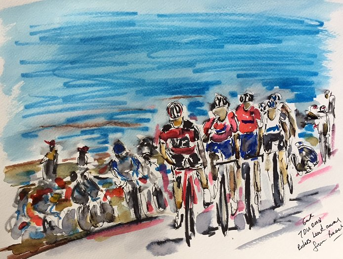 2018 Tour Down Under Art by Garth Bayley  Riders lead away from the beach  on Stage 5. Copyright © 2018 Garth Bayley Art Garth s cycling art is  available for ... f3314e3ec